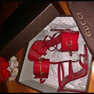 Gucci Ursula Vernice Ankle Wrap Cage Sandal